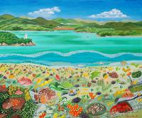 北口 久人「向島大橋と大浜崎灯台とオノミチキサンゴと海の幸」